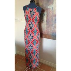 "Gorgeous elegant maxi dress. Collective concepts coral, navy, red, turquoise maxi dress. Great for day to evening. Side splits provides an airy flow. 60"" from shoulder to bottom. Collective Concepts Dresses Maxi"