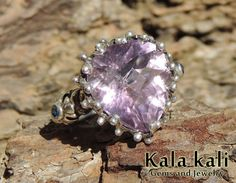 Royal Faceted Amethyst and 3 Blue Sapphire on a Floral Sterling silver Hand Crafted Ring 18.5 MM USA 8 3/4 on Etsy, $204.74 AUD