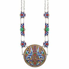 Egyptian Inspired Sterling Silver & Enamel Pendant-Necklace, Gucci - Composed of oval links spaced by stylized lotus flower panels applied with turquoise, royal blue & red enamel, joined by two fancy-shaped enameled plaques centering a stylized green enamel beetle motif surmounted by interlocking silver-gilt G's, suspending a large circular pendant with brown enamel background, highlighted by a pair of birds within stylized lotus flowers, centering a pair of interlocking G's,  signed Gucci