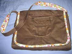 Super upcycle.  i think this is a messenger bag.  i haven't clicked the link yet.