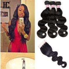 Malaysian Hair Bundles 3 Bundles Body Wave with Closure Free/Middle/Three Part Hc Hair, Brazilian Weave, Malaysian Hair, Body Wave, Middle, Closure, Creative, Free, Goals