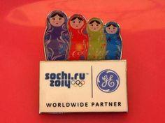 Sochi 2014 Olympics Sponsor Pin GE General Electric Set Of Nesting Dolls