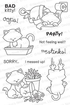 embroidery inspiration too these stamps - Naughty Newton - Bad Kitty/Cat Stamp set by Newton's Nook Designs Coloring Books, Coloring Pages, Bad Cats, Bad Kitty, Cat Quilt, Cat Cards, Get Well Cards, Animal Cards, Penny Black
