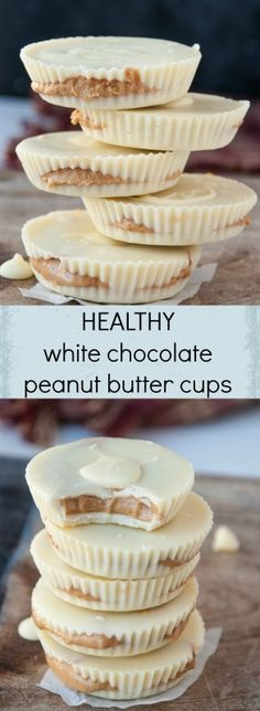 Tis the season for WHITE CHOCOLATE! White chocolate covered everything! Print Healthy White Chocolate Peanut Butter Cups Ingredients c white chocolate chips 5 tbsp. natural peanut butter (I used Nuts. Just Desserts, Delicious Desserts, Yummy Food, Cupcakes, Candy Recipes, Dessert Recipes, Fudge Recipes, Peanut Butter White Chocolate, Ma Baker