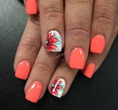 Summer Nail Art 2019 Ideas to give you that invincible shine and confidence - Hike n Dip Exciting Summer nail art for you to get into the vacation mode. I am sure these summer nail designs will make you ready for your summer parties and trips. Bright Summer Nails, Cute Summer Nails, Spring Nails, Cute Nails, Pretty Nails, Bright Coral Nails, Summer Nail Art, Coral Ombre Nails, Nail Art Ideas For Summer