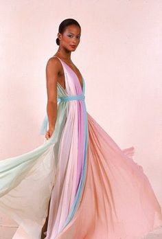 Beverly Johnson in Halston, first Black model on Vogue's cover.