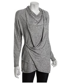 Wyatt : grey melange stretch convertible wrap cardigan : style # 315278501