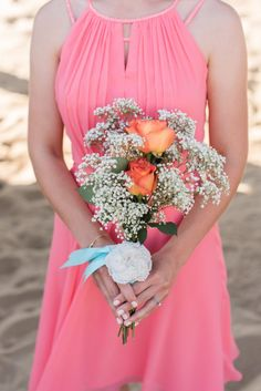 Pink Blue Virginia Beach Wedding - bridesmaids bouquet