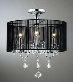 $125.99  Dimensions: 18.5 inches wide x 20 inches high  Black and Chrome Semi Flush Mount Crystal Chandelier