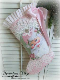 Jolly pink santa and roses stocking