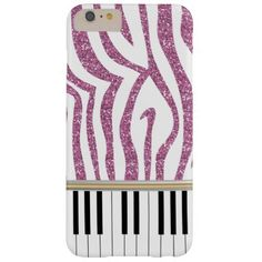 Piano Keys Pink Glitter Zebra Print Barely There iPhone 6 Plus Case. A trendy and hip music design featuring piano keys with a girly pink glitter zebra print pattern. Perfect for the pianist, piano student or the piano lover. Please note that this is a printed image of blue glitter, there is no real glitter on this design.