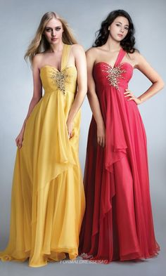 Red Flowing One-Shoulder Beaded Sweetheart Chiffon Evening Dress PLFD020