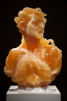 Absolutely stunning; a bust in honecomb calcite instead of traditional carrera