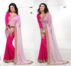 #Pink,#White #Poly #Georgette #Printed #Saree #With #Unstitch #Blouse $41.19 www.fashionumang.com