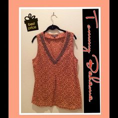 Tommy Bahama Beaded V-Neck TunicPrice Reduced Rust and Brown  Tunic with Beaded detailing on neckline.  Front inverted pleat completes this casual tunic top by Tommy Bahama. Semi-Sheer Fabric. Tommy Bahama Tops Tunics