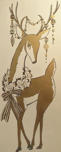 Vintage Mid Century Deer Christmas Card