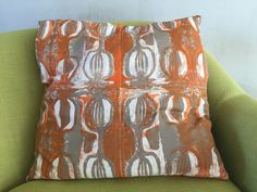 Large hand screen printed limited edition cushion with 'Seedhead' design.