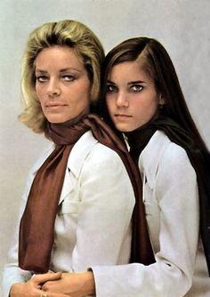 Lauren Bacall and Leslie Bogart wearing mother-daughter scarves (1968).