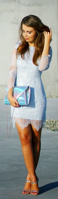 "Daily New Fashion : BABY BLUE LACE DRESS………I LOVE THE SUBTLE COLOR, LOVE THE DRESS ……..MODEL LOOKS ""BLUINGLY LOVELY"" IN IT …….ccp"
