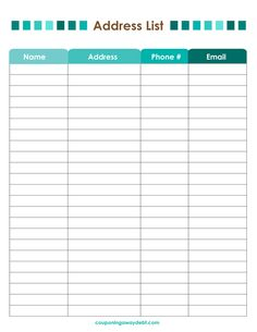 address list printable