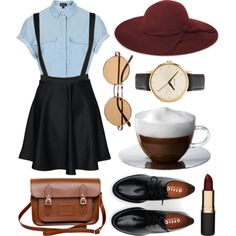 Untitled by hanaglatison on Polyvore featuring Topshop, mae, Brixton, Zatchels, Nixon, French Connection, Mimco and Bodum