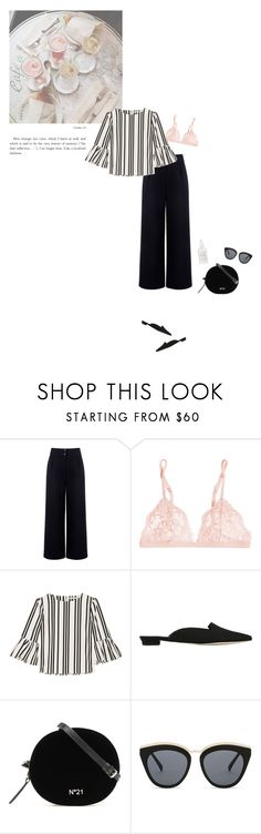 """The Prettiest Underpinnings"" by catchsomeraes ❤ liked on Polyvore featuring Être Cécile, La Perla, Alice + Olivia, Manolo Blahnik, Le Specs, Herbivore, stripes, ruffled and prettyunderpinnings"