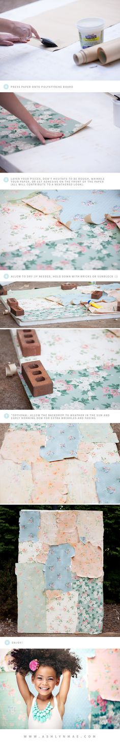 DIY Vintage Wall Paper Photography Backdrop Tutorial - Ashlyn Mae Photography BLOG