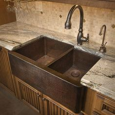 abana House Kitchen  Hammered Copper Farmhouse Sink for the Kitchen   Designer: Jenny Thomas, Custer Design Group