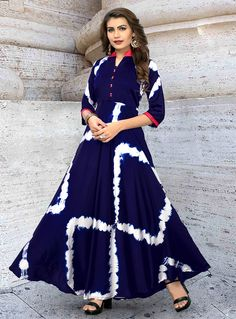 Navy Blue Color Taiwan Satin Silk Kurti With Shibori Print Kurti Neck Designs, Kurti Designs Party Wear, Blouse Designs, Indian Designer Outfits, Designer Dresses, African Fashion, Indian Fashion, Frocks And Gowns, Long Gown Dress