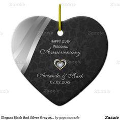Elegant Black And Silver Grey 25th Anniversary Ceramic Heart Decoration