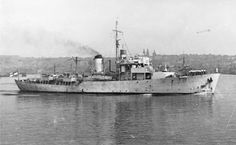HMNZS Arbutus was a modified Flower-class corvette of the Royal New Zealand Navy (RNZN). Built for the Royal Navy as HMS Arbutus, the corvette was transferred to the RNZN on completion in 1944, and operated during the final years of World War II. In April 1947, Arbutus was one of the units involved in a mutiny over poor pay and working conditions. She was decommissioned in 1948 and broken for scrap in 1951. Royal Canadian Navy, Royal Navy, Navy Ships, Water Crafts, Battleship, World War Ii, Corvette, Sailing Ships, Ww2