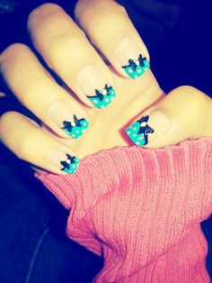 Bow nails. LOVE this, but only on one or two fingers