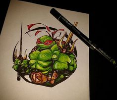 Jenn Prouty Raphael drawing with just 4 Chameleon Pens