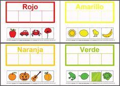 MATERIALES - Colores.  Actividad para trabajar la identificación y evocación de los colores, utilizando fichas con pictogramas recortables asociados por el color. Puede trabajarse de forma individual o colectiva, a modo de juego.  http://arasaac.org/materiales.php?id_material=1026