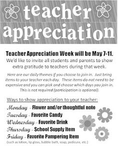 Teacher Appreciation - Themed gift ideas for each day of the week