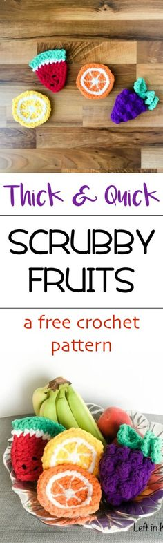 Use this FREE crochet pattern to make bright and cheerful fruit shaped sponges. These are perfect for everything from cleaning dishes to bath time. Make them all to freshen up your home for spring or as a DIY housewarming gift. @yarnspirations