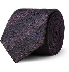 Burberry London Striped Woven-Silk Tie          | MR PORTER