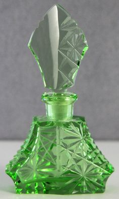 Estate Vintage Apple Green CUT Glass Perfume Bottle Made IN Czechoslovakia 4 5 | eBay