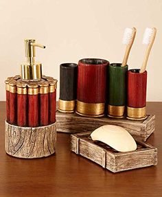 Give your bathroom a rustic, outdoorsman feel with this Shotgun Shell… Bullet Casing Crafts, Bullet Crafts, Shotgun Shell Crafts, Shotgun Shells, Armas Wallpaper, Ammo Crafts, Diy Crafts, Rustic Bathroom Decor, Camo Bathroom