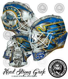 Brian Elliott's away mask for the St. Louis Blues in 2013 Goalie Gear, Hockey Helmet, Goalie Mask, Hockey Goalie, Hockey Teams, Ice Hockey, Hockey Stuff, Blues Nhl, Hockey Season