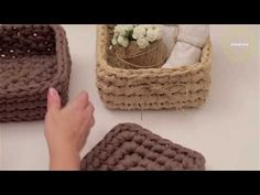 Cestino in fettuccia   Crochet basket   Fondo tondo    Katy Handmade - YouTube