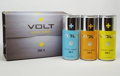 VOLT Coffee + Energy Drink Packaging by Melissa Suarez, via Behance