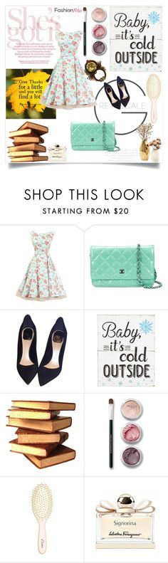 """Floral Printed Patchwork Vintage Bowknot Classical Round Neck Skater Dress"" by fashionmia-fashion ❤ liked on Polyvore featuring Chanel, Christian Dior, Bare Escentuals, Nate Berkus, L. Erickson, Salvatore Ferragamo and vintage"