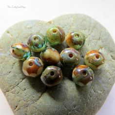 NEW SANDY BEACH .  Czech Picasso Glass Beads (12 beads) 5 by 7 mm rondelles by LuckySpotShop on Etsy
