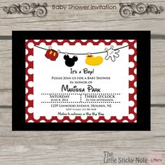 Mickey Mouse Baby Shower Invitations by TheLittleStickyNote, $1.50