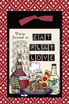 eat play love, Italy clip art, world clip art, party invitation, dinner party