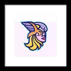 Mascot Framed Print featuring the digital art Valkyrie Warrior Mascot by Aloysius Patrimonio Hanging Wire, Retro Fashion, Fine Art America, Digital Art, Framed Prints, Artwork, Work Of Art, Auguste Rodin Artwork, Artworks