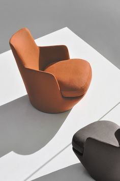 Swivel fabric armchair LO TURN by BENSEN