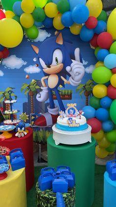 Sonic Birthday Cake, Sonic Birthday Parties, Sonic Party, 5th Birthday Party Ideas, Diy Birthday Decorations, Boy Birthday, Kids Party Tables, Theme Mickey, Monster Inc Birthday