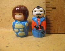 2 mini KOKESHI bonne chance charme poupées santé & sagesse Japon japonais - Français Feve Feves porcelaine Figurines Miniatures Figurine G180